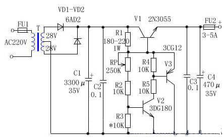 3.5v-25v大电流可调稳压电源电路