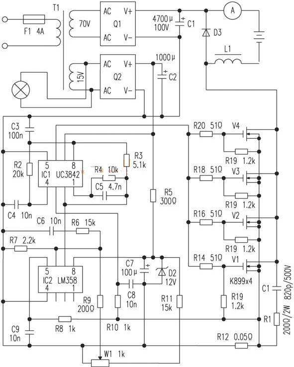 用uc3842芯片制作的开关式大容电池充电机