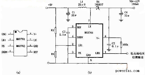 5v转12v开关电源电路图(max761)