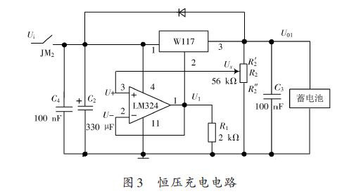 该设计方案的指标要求:   蓄电池为4.2 V,负载为5 V.为此利用开关电压调节器LM2596 进行DC-DC 变换,具有驱动能力强,线性较好的特点。该不间断直流电源的主要特点如下:主电源正常时,除可以给设备供电外,还可以以不同模式给蓄电池充电,当电压大于 4.2 V时,切断恒流充电电路,接通恒压充电电路;当电压低于4.